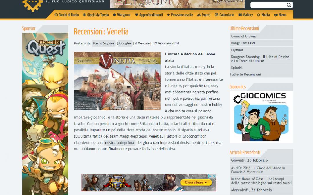 Venetia Italian review on gioconomicon.net