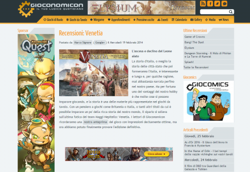 Venetia Italian review on gioconomicon.net